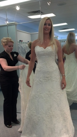 I didn't want a strapless dress, but I really loved the scalloped top of this sweetheart neckline